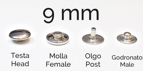 BOTTONI AUTOMATICI A PRESSIONE IN FERRO TIPO BC DIAMETRO 14 mm FINITURA ORO