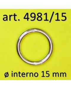 anello chiuso diametro interno 15 mm art. 4981/15 in finitura NICKEL