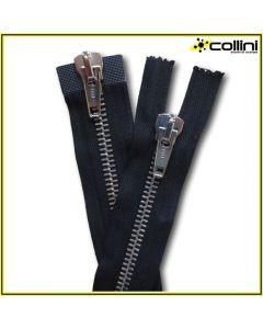 Cerniere divisibili in metallo con doppio cursore  (H 8 mm - lunghezza 75 cm)