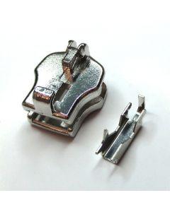 Cursore per cerniere in metallo catena 6 mm in finitura NICKEL, con il relativo ponte (per il montaggio del tiralampo)