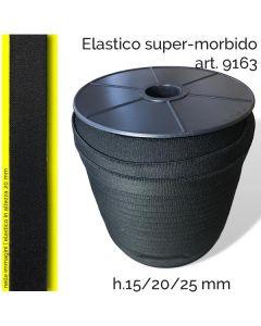 elastico super-morbido per maschere facciali art. 9163, disponibile nelle altezza 15, 20 e 25 millimetri