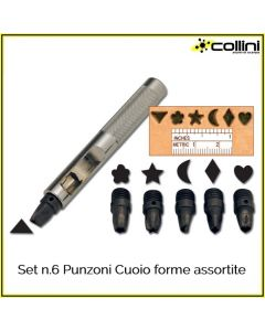 Set n.6 Punzoni Cuoio forme assortite