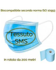 Tessuto TNT 35 gr/mq a triplo strato adatto alla produzione di mascherine protettive.