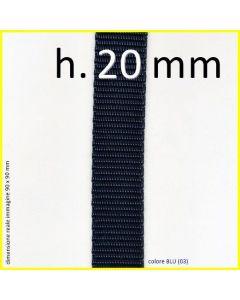 il nastro in polipropilene in altezza 20 mm nel colore BLU (03)