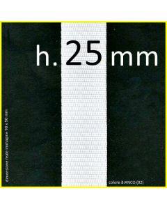 nastro in polipropilene in altezza 25 mm nel colore BIANCO (02)
