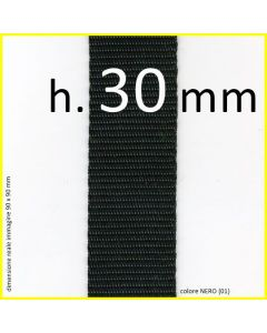 nastro in polipropilene in altezza 30 mm nel colore NERO (01)