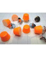 Borchie in ABS CONO TRONCO Arancione Fluo (con i rispettivi chiodini per il fissaggio)