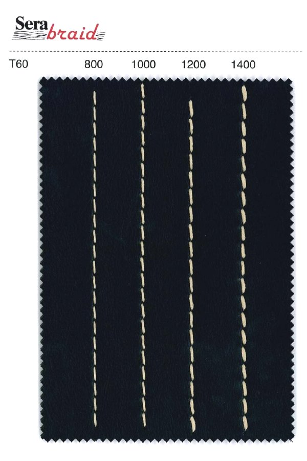 I vari diametri di SERABRAID esemplificati da una cucitura