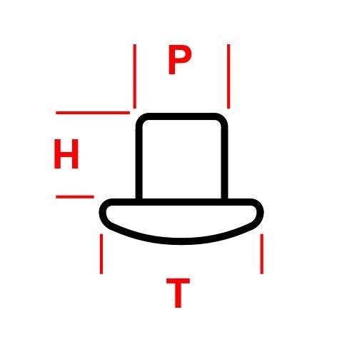 Dimensioni testa rivetto THP